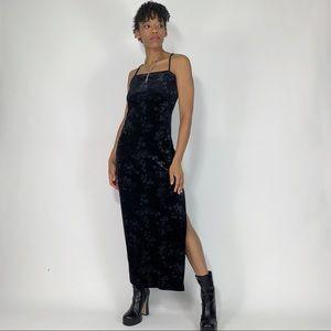 90s Vintage Black Rose Velour Side Slit Maxi Dress